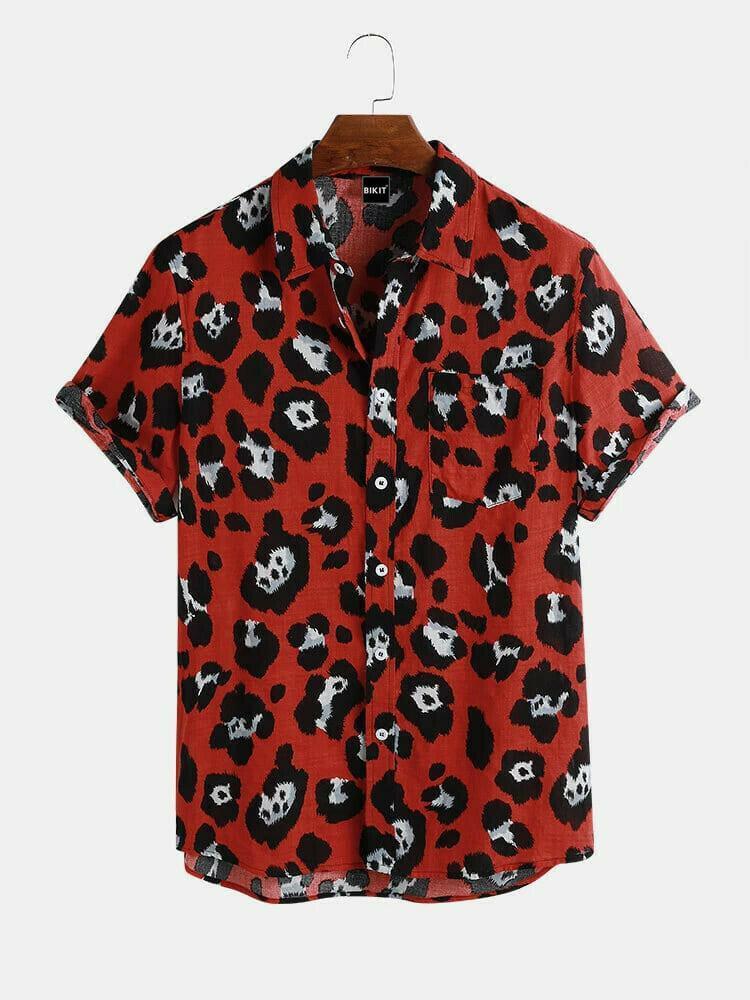 Boys Fashion Red Color Printed Breathable Half Sleeve Hawaii Shirt