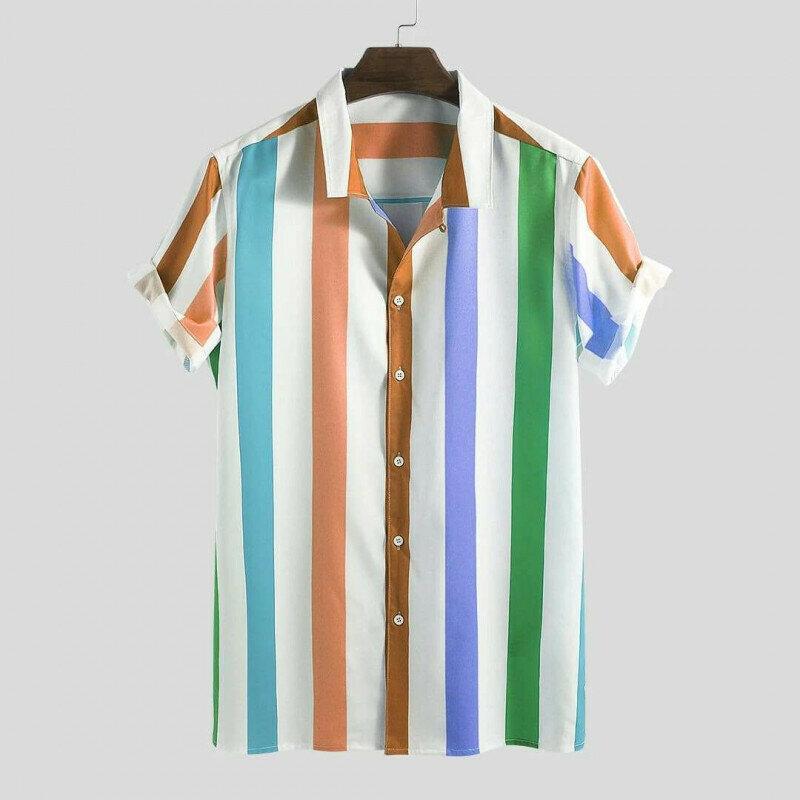 Boys Summer Big Stripe Short Sleeve Shirt