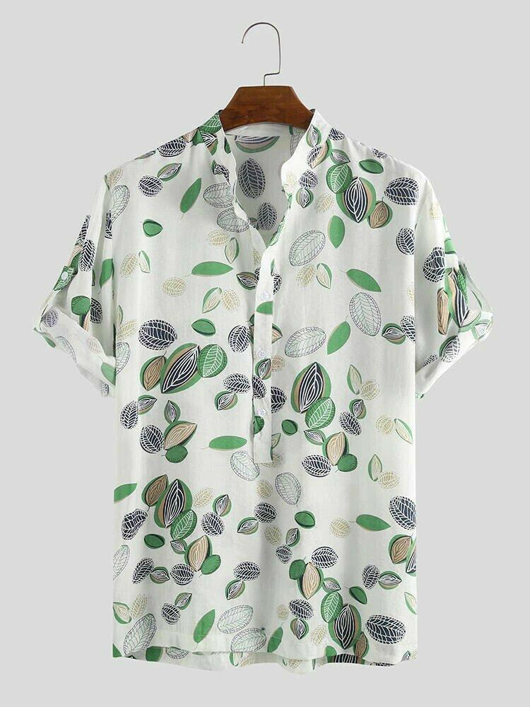Boys Leaves Printed Hawaiian Stand Collar Henley Shirt