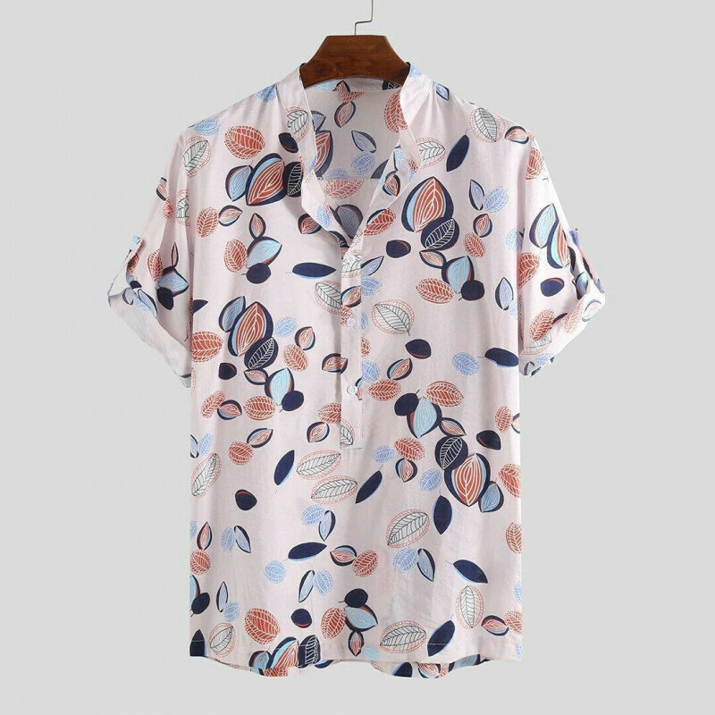 Boys Summer Leaves Printed Stand Collar Henley Shirt