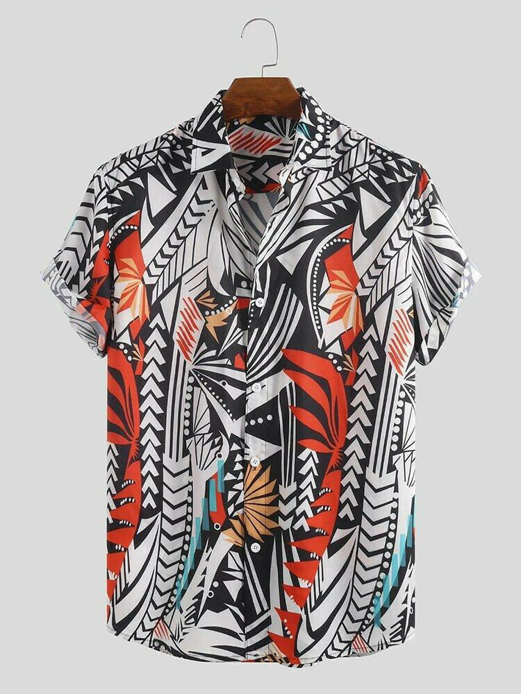 Boys Premium Irregular Pattern Printed Half Sleeve Relaxed Shirt