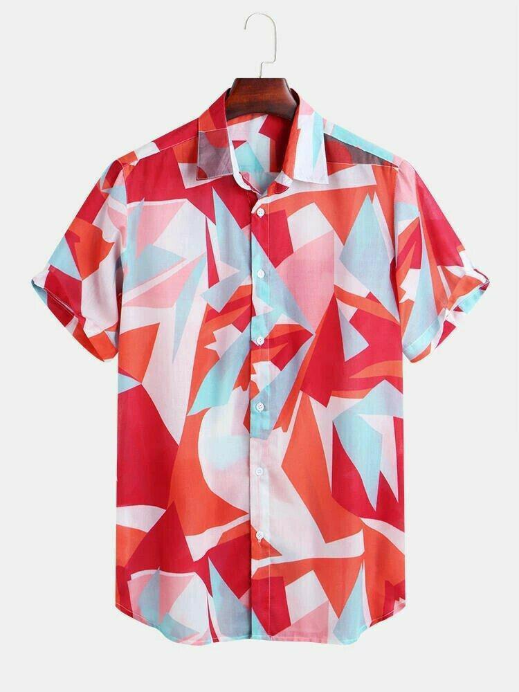 Mens Geometric Color Printed Short Sleeve Summer Wear Shirt
