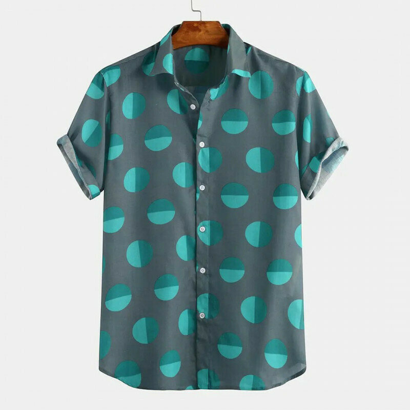 Boys Green Color Printed Half Sleeve Vacation Casual Shirt