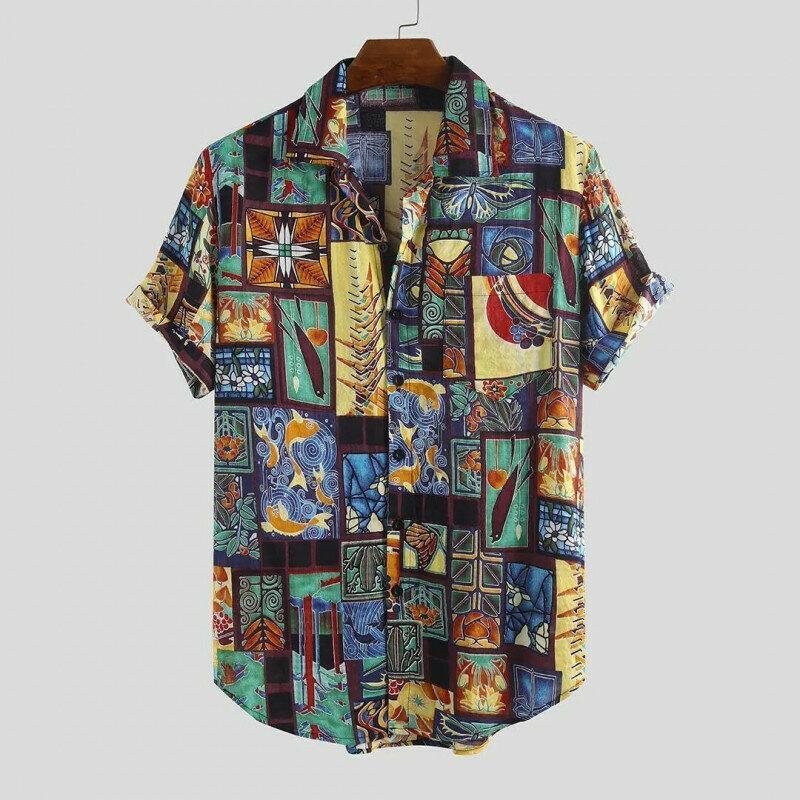 Multi Printed Shirt For Men In Half Sleeve