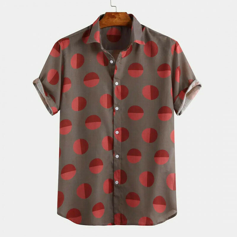 Holiday Rotundity Red Printed Half Sleeve Vacation Wear Shirt
