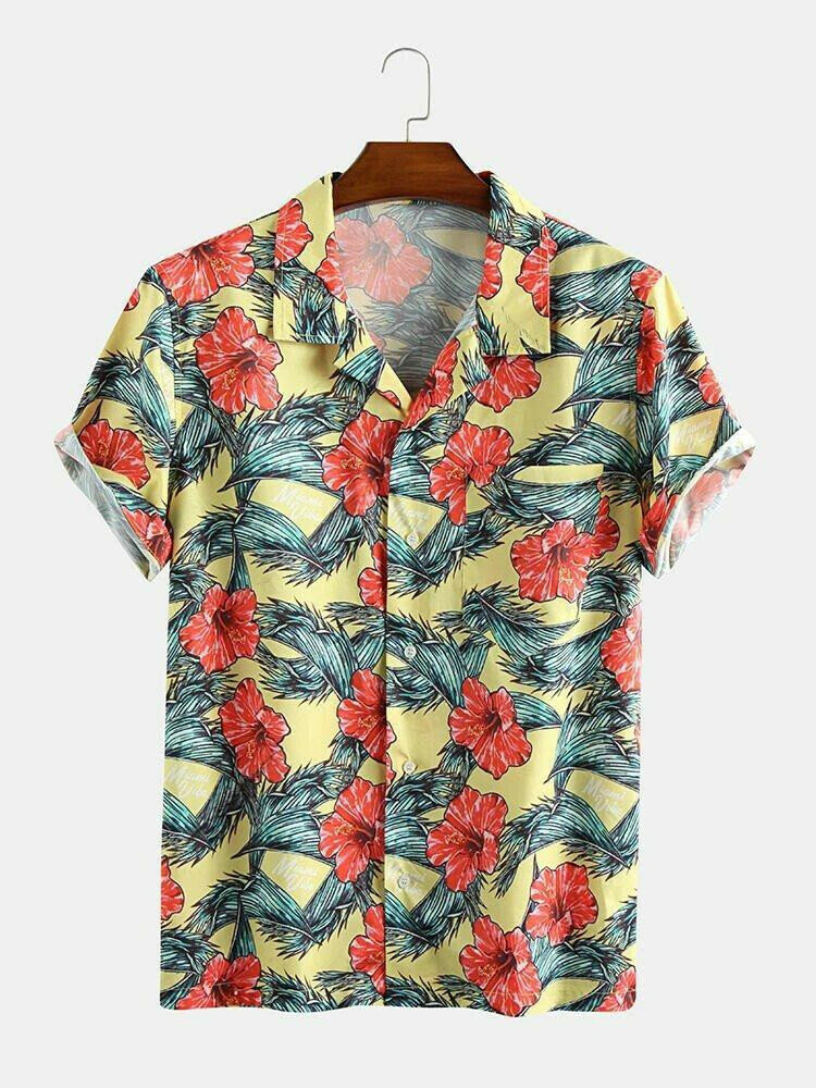 Beautifully Red Color  Printed Half Sleeve Shirt