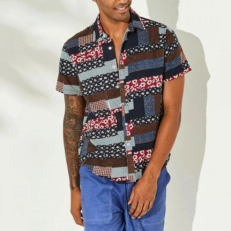 Boys Striped Floral Printed Half Sleeve Patchwork Shirt