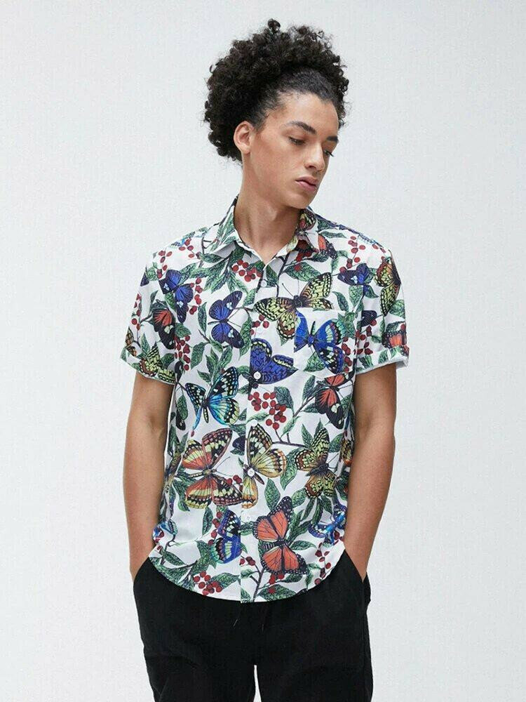 Boys  Butterfly Floral Printing Fit Casual Shirt