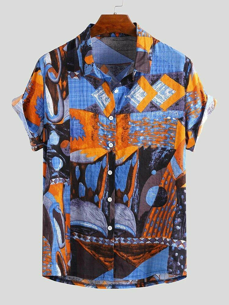 Boys Island Printed Small Stripe Half Sleeve Shirt