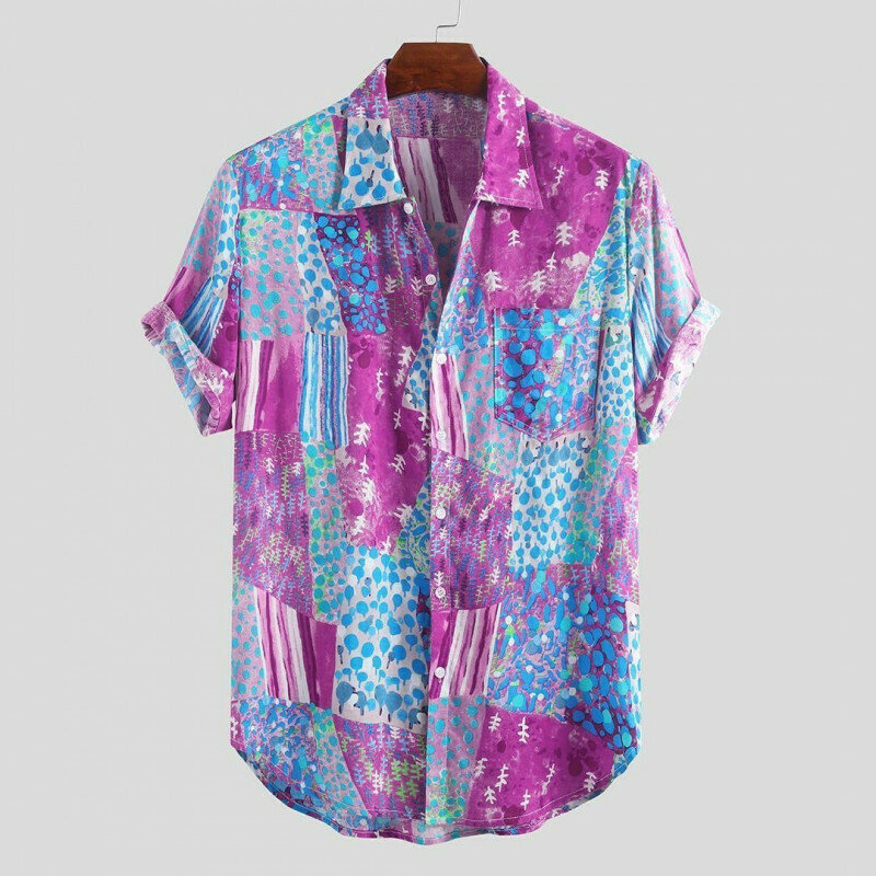 Boys Colorful Pattern Half Sleeve Shirt
