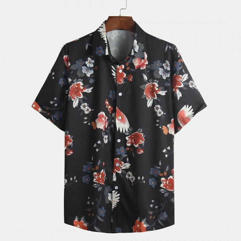 Boys Black Floral Printed Sleeve Casual Shirt
