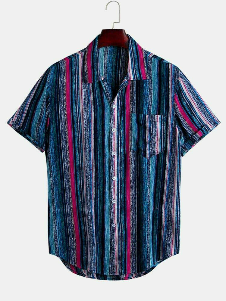 Boys Colorful Casual Short Sleeve Striped Shirt