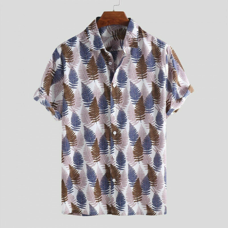 Attractive Mens Wear Palm Leaves Printedshirt