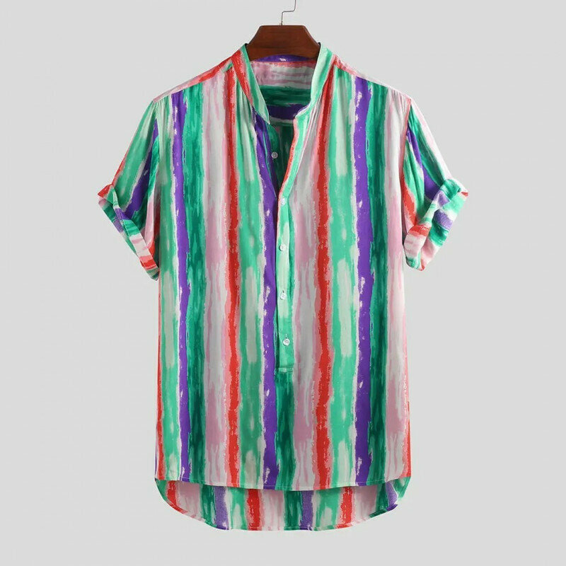 Boys Colorful Striped Hawaiian Casual Fashion Shirt