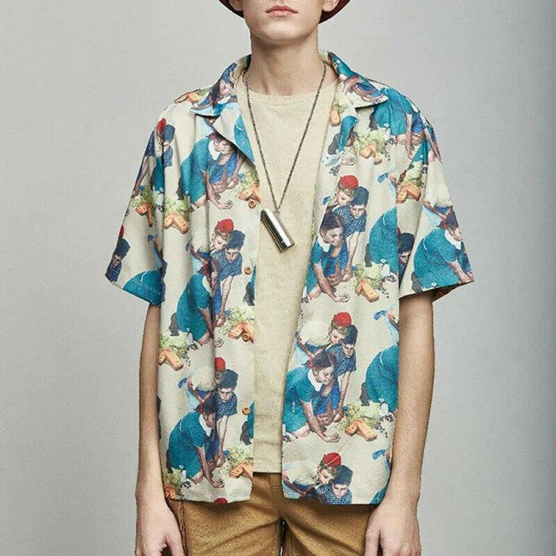 Boys Retro Designed Printed Half Sleeve Shirt