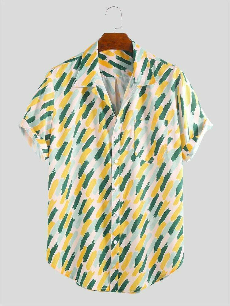 Summer Holiday Wear Pocket Yellow Printed Half Sleeve Casual Shirt Online