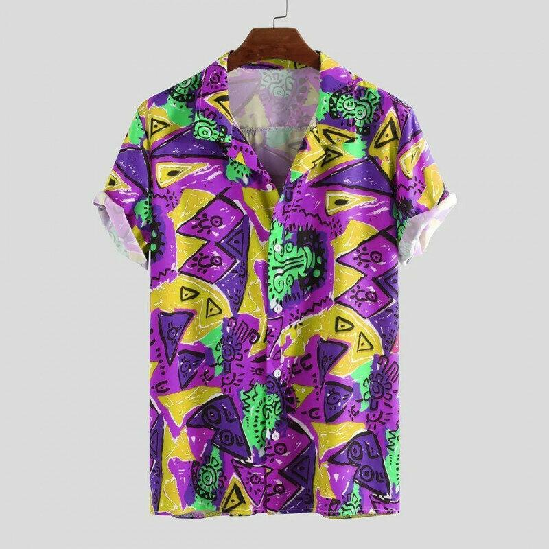 Mens Geometry Half Sleeve Color Shirt