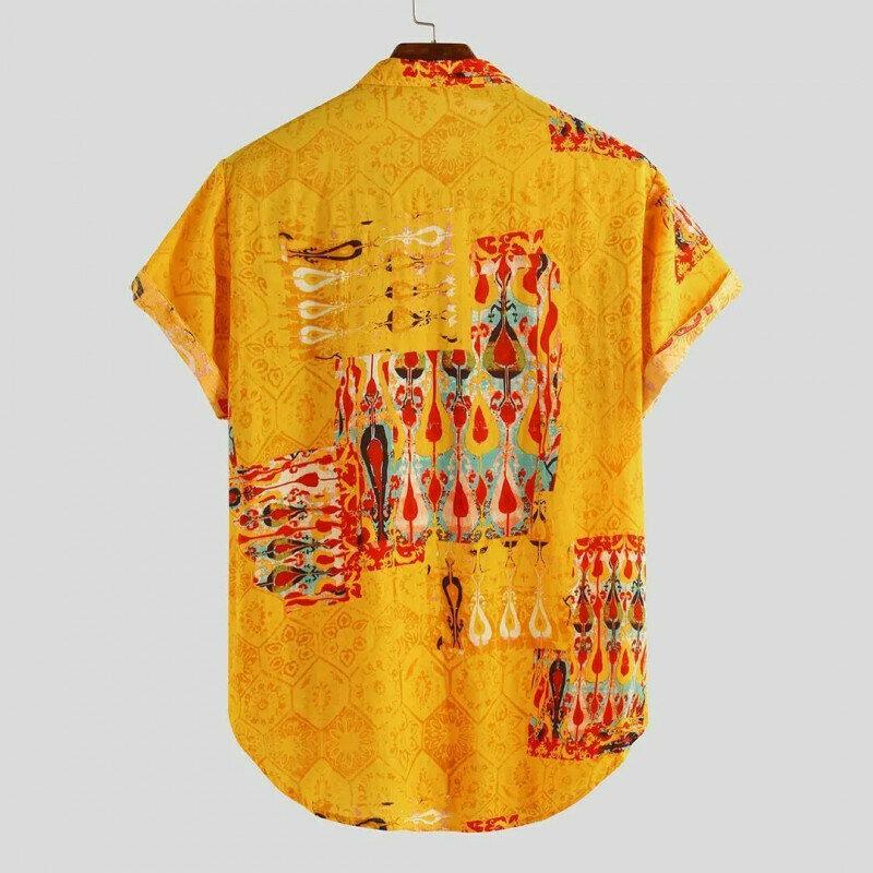 Boys Yellow Folk Symbol Holiday Wear Casual  Printed Shirt Online