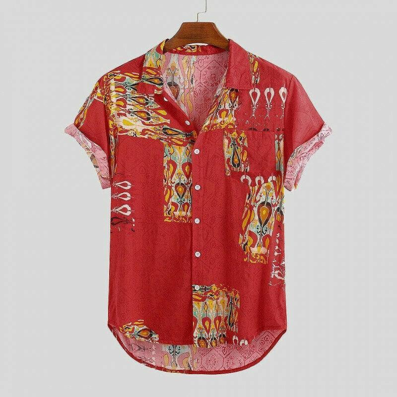 Boys  Folk Symbol Red Attractive Casual Printed Shirt
