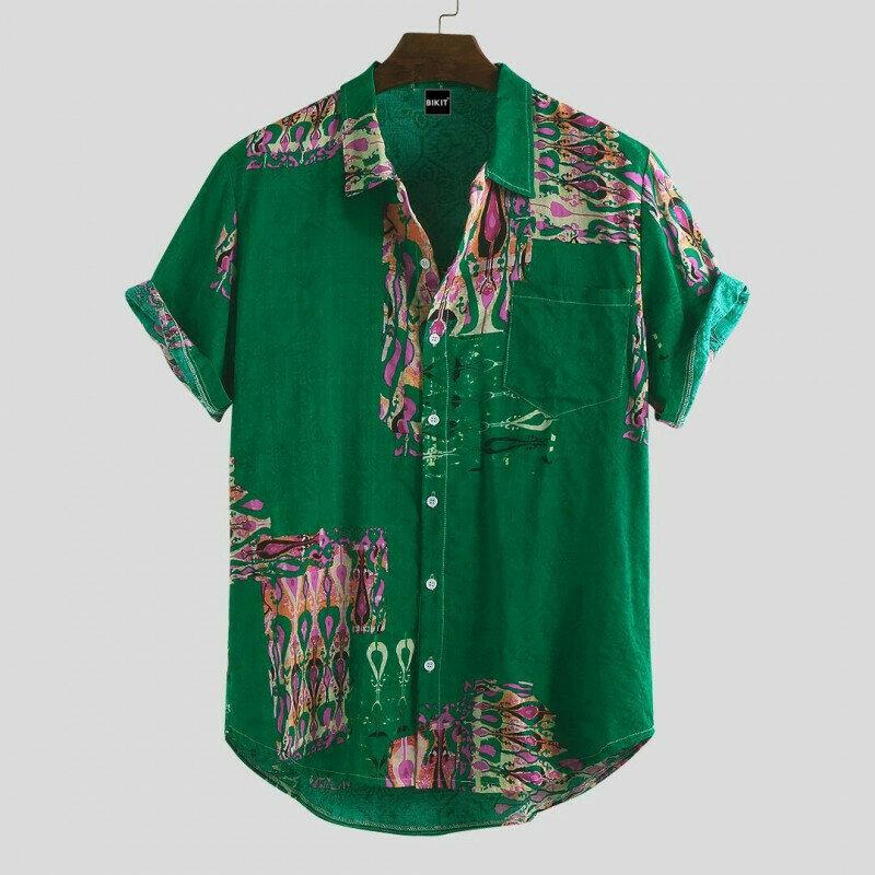 Boys Folk Symbol Green Relaxed Printed Half Shirt