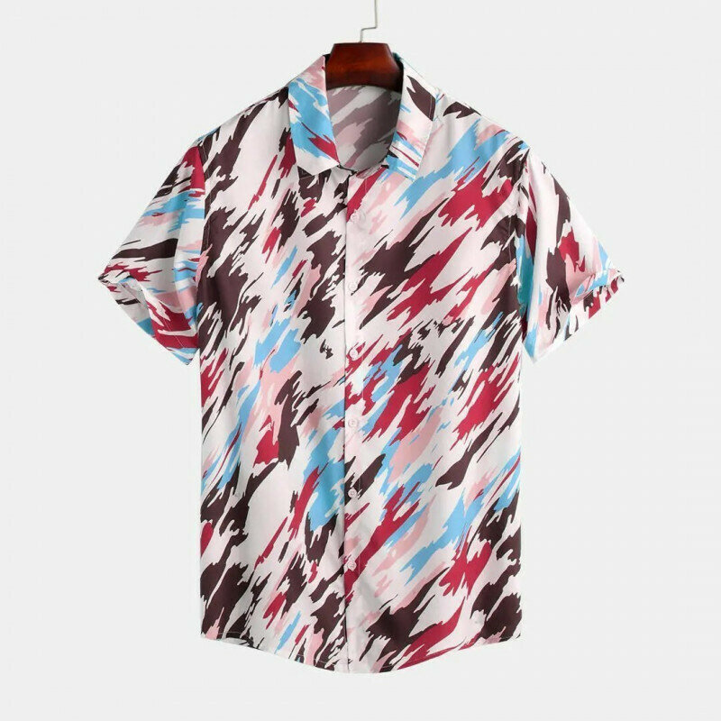 Men Wear Relaxed Fashion Painted Printed Half Sleeve Shirt