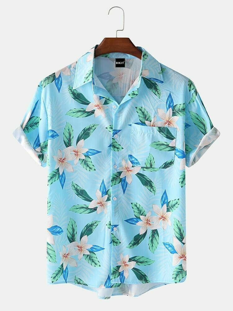 Boys Sky Blue Leave Printed Relaxed Half Sleeve Casual Shirt