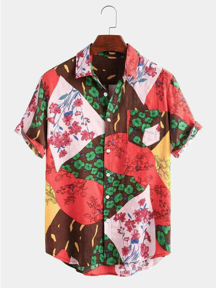 Boys  Attractive Casual Color Flower Printed Half Sleeve Shirt