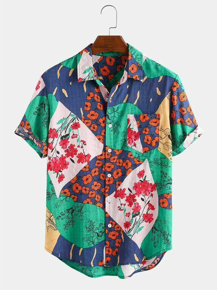 New Fashion Casual Color Flower Printed Half Sleeve Shirt