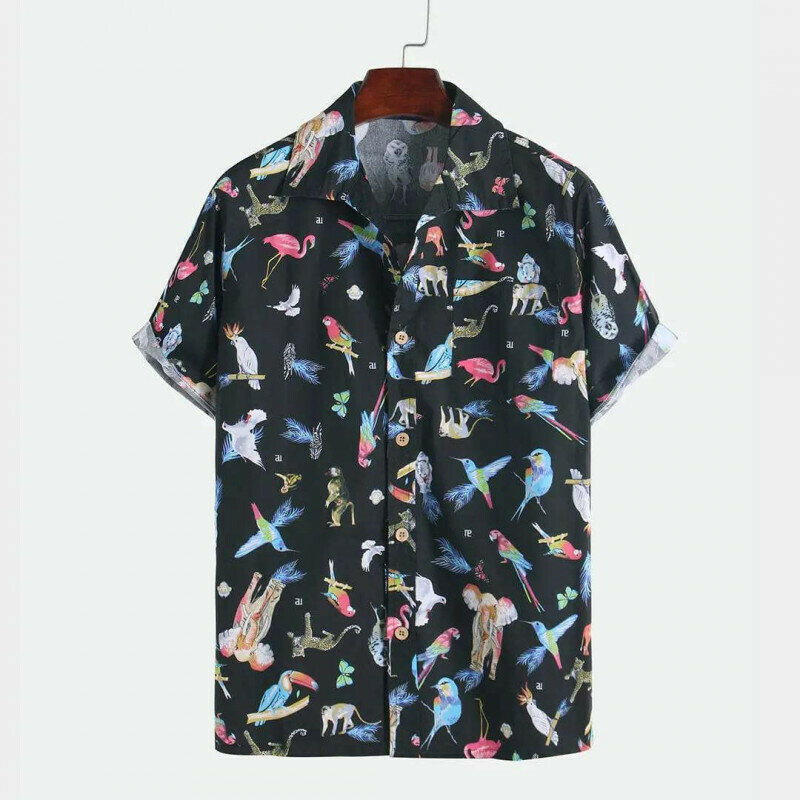 Boys  Birds Cartoon Printed Half Sleeve Shirt