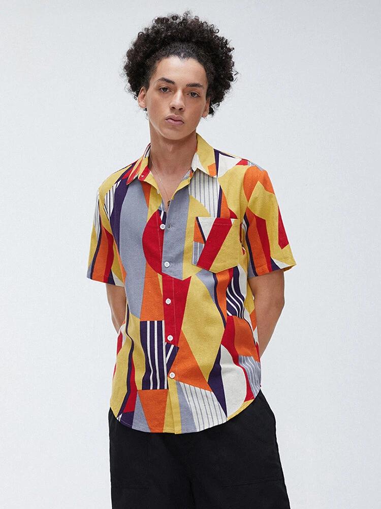 Mens Attractive Hexagonal Designed Printed Shirt