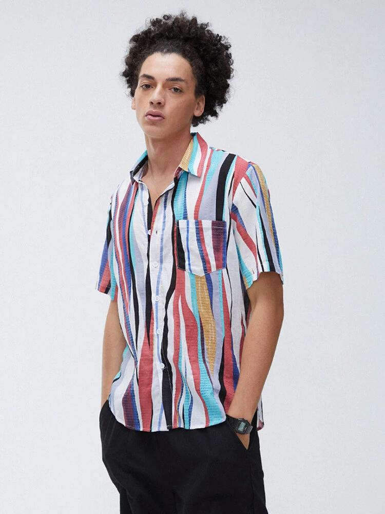 Mens Half Sleeve Trendy Fashion Beach Wear Shirt