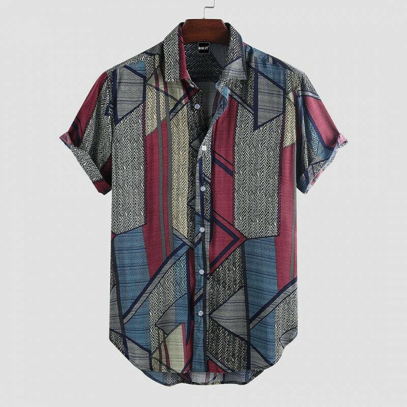 Boys Printed Turn Down Collar Casual Shirt
