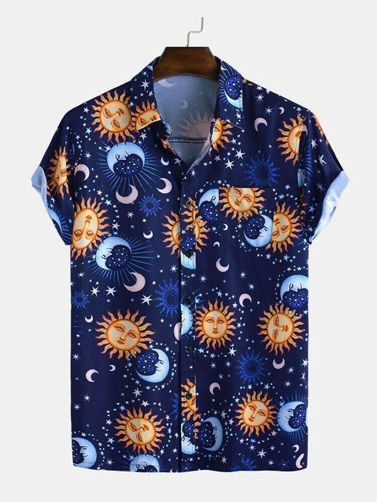 Boys Wear Sun Moon Printed Half Sleeve Relaxed Shirt