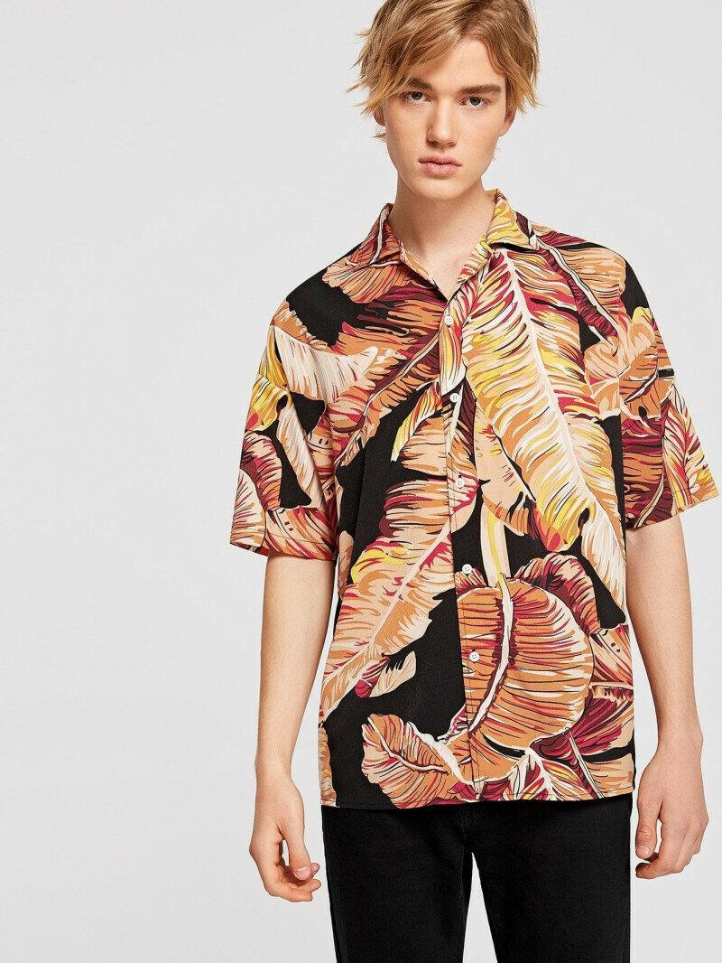 Boys Palm Leaf Printed Summer Wear Shirt