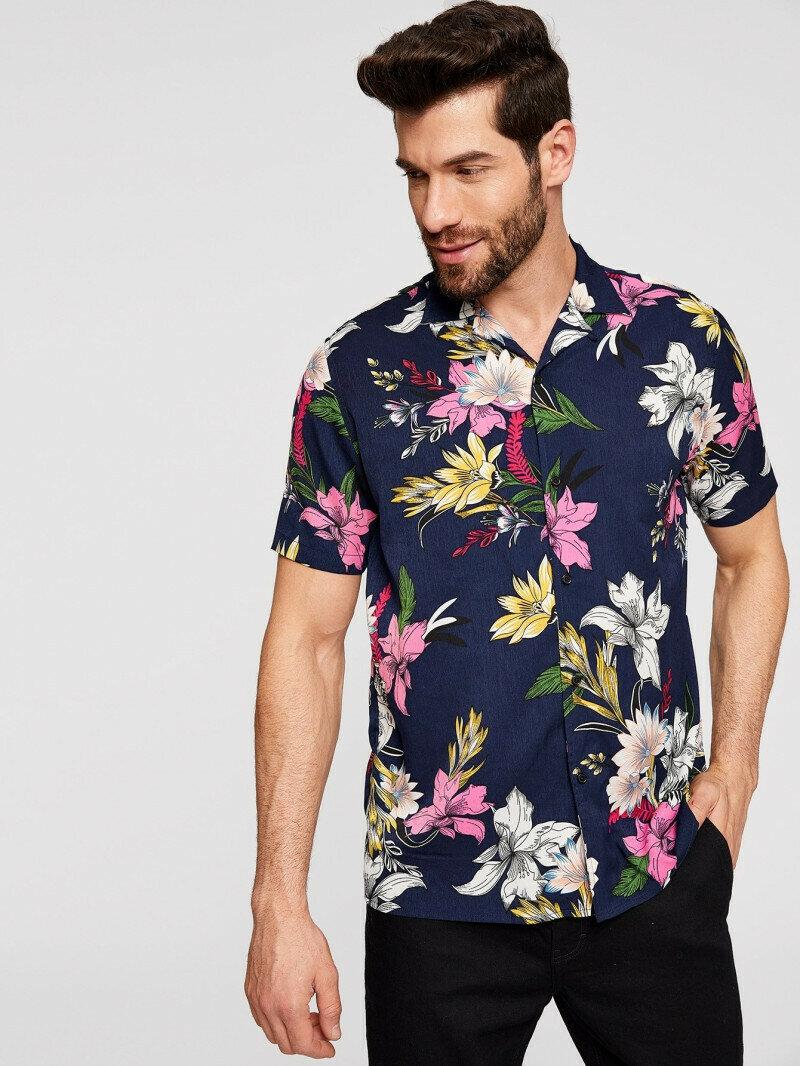 Men Tropical Leaf Printed Shirt