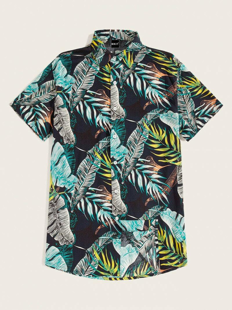 Boys Curved Hem Jungle Leaf Printed Relaxed Shirt