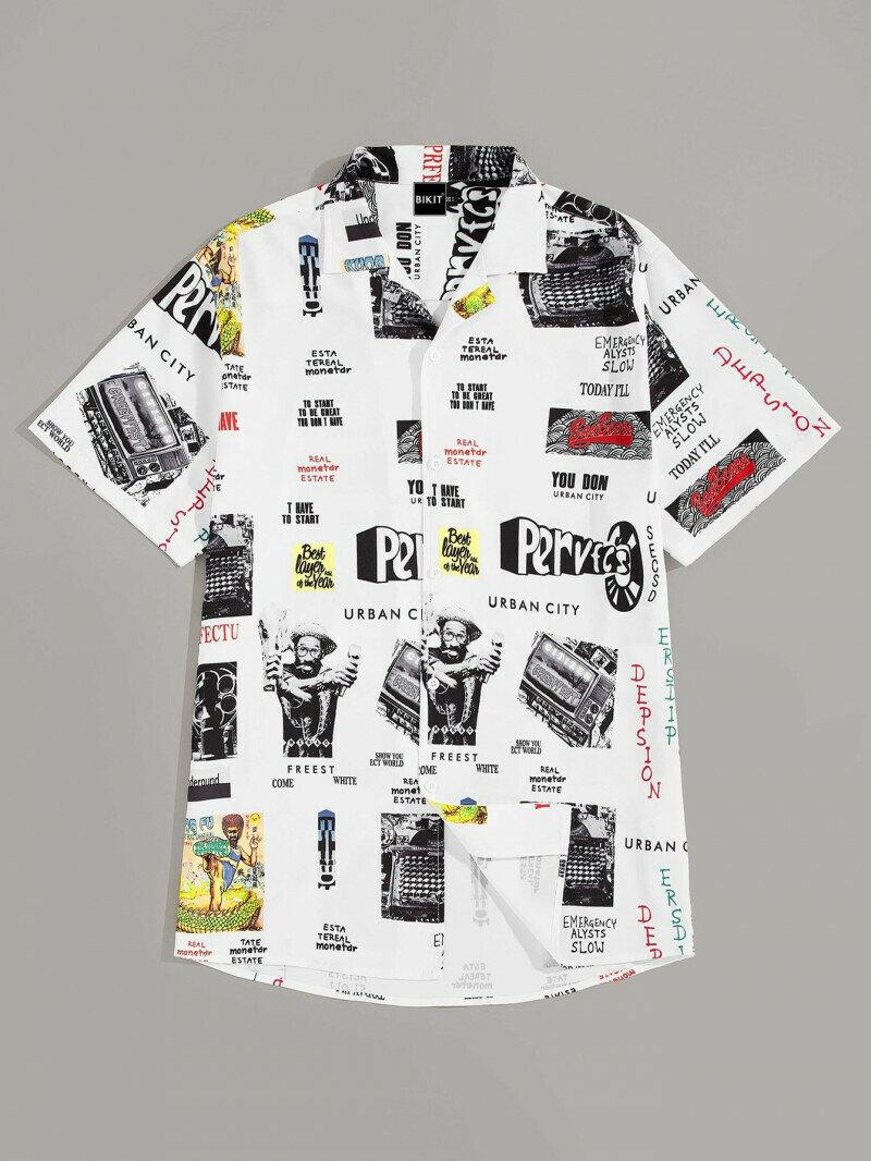 Boys Revere Collar Retro Printed Shirt