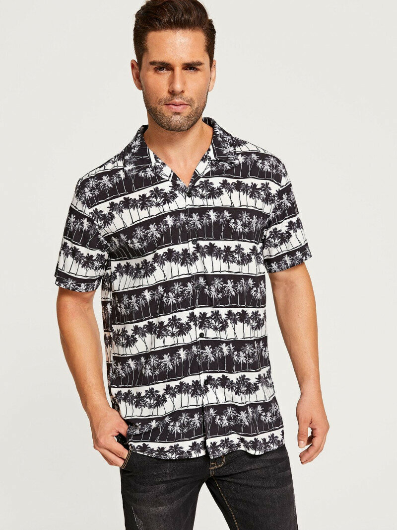 Boys Relaxed Allover Tropical Tree Printed Shirt
