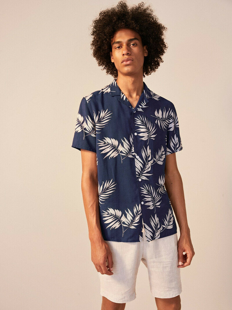 Boys Revere Collar Leaf Tropical Print Shirt