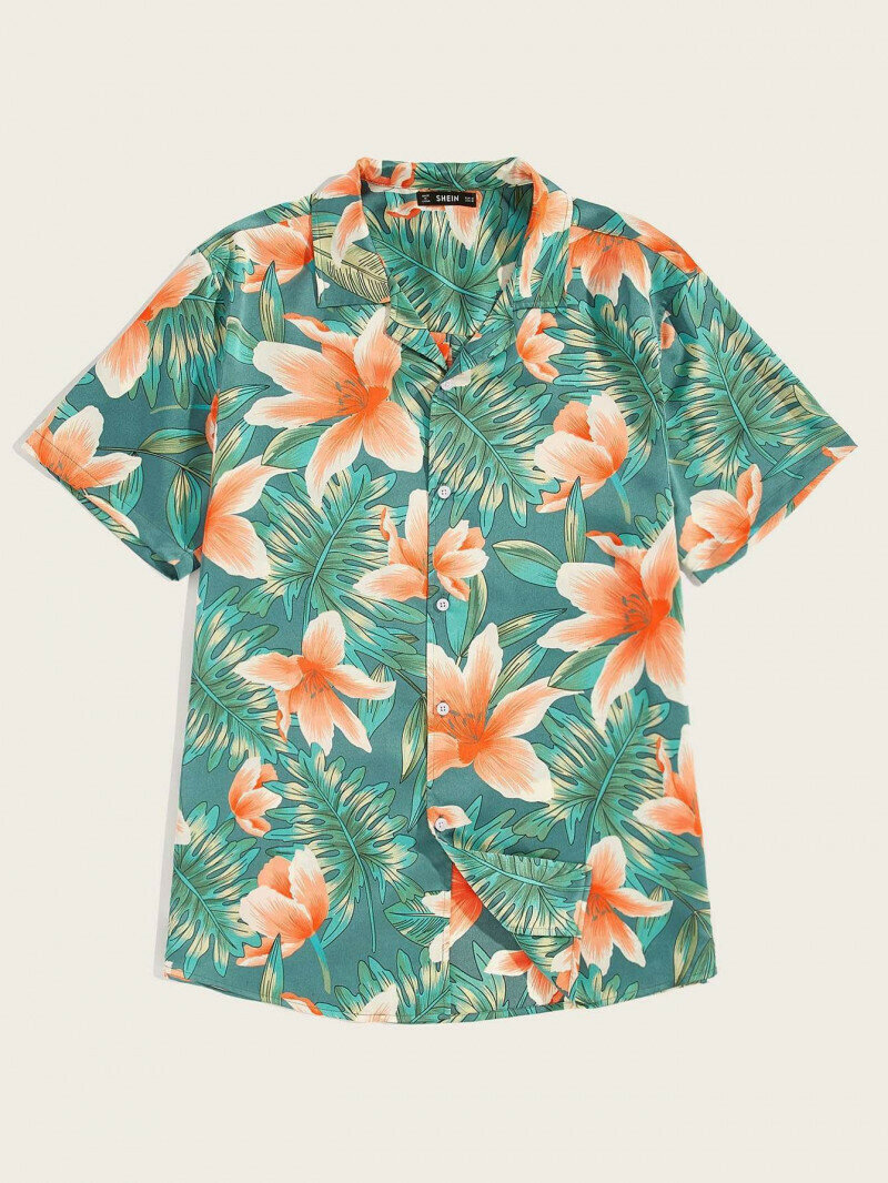 Boy Tropical And Floral Printed Half Sleeve Shirt