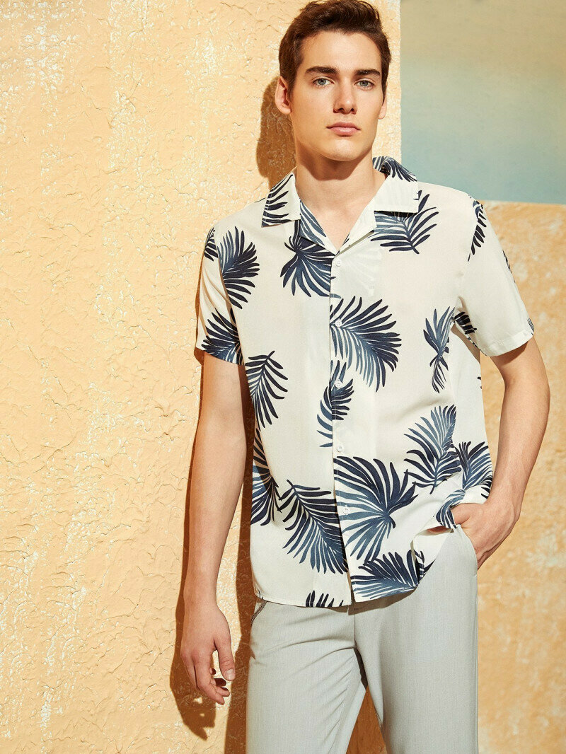 Tropical Printed White Placket Relaxed Shirt
