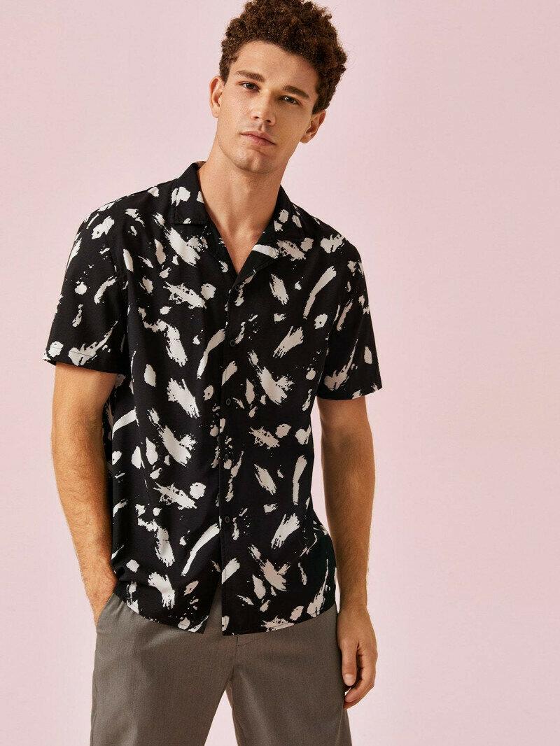 Notch Collar Brush Black Printed Relaxed Shirt