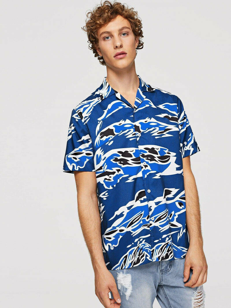 Men Waves Painted Blue Color Shirt