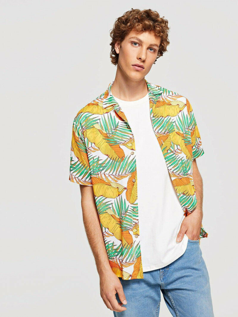 Boy Yellow Color Tropical Printed Shirt