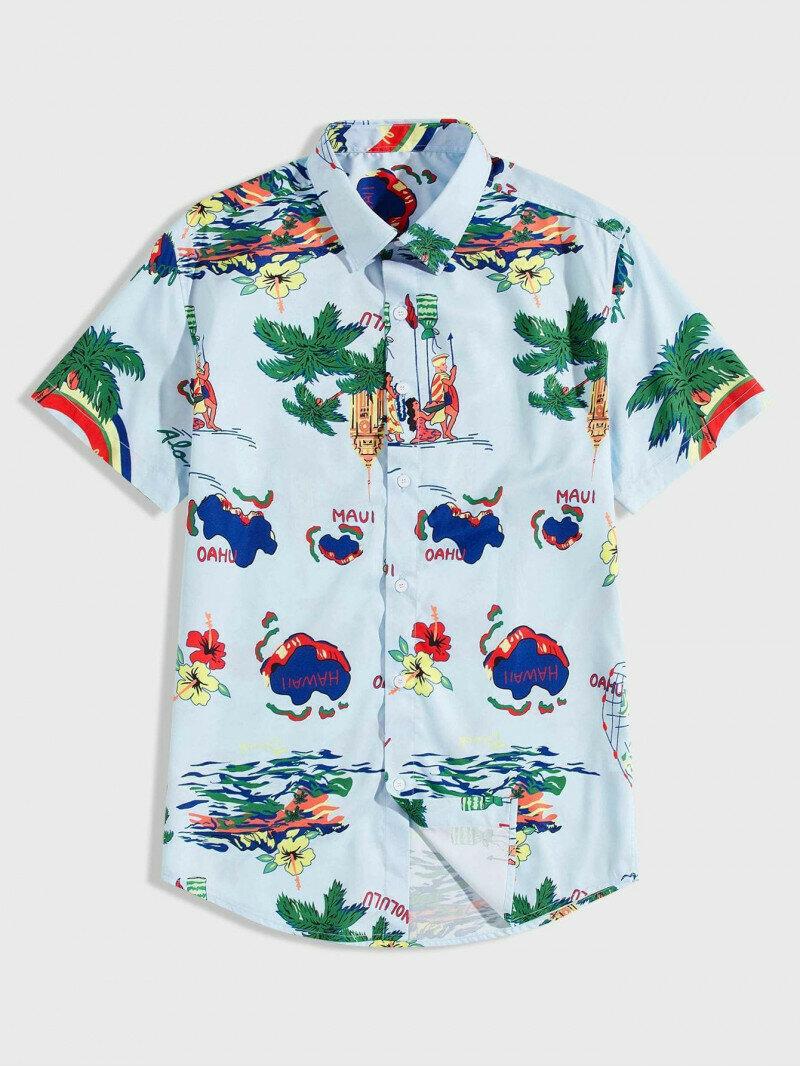 Boys Tropical Printed Shirt