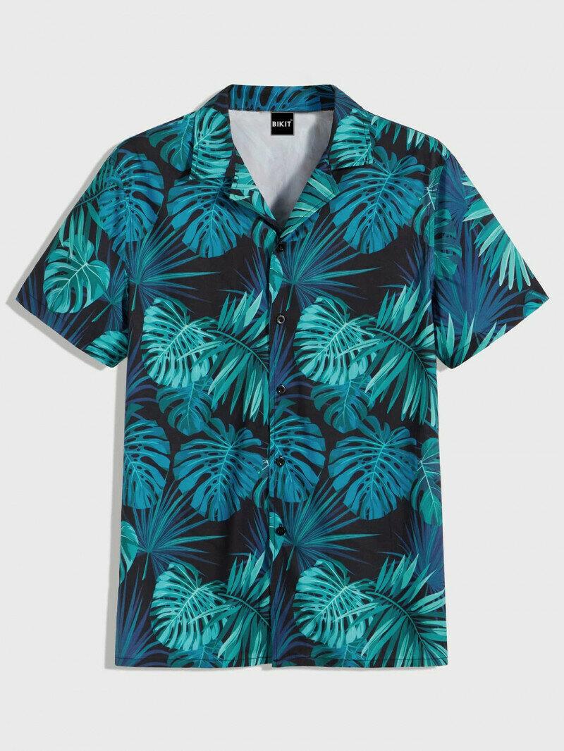 Men Sky Colored Tropical Printed Shirt