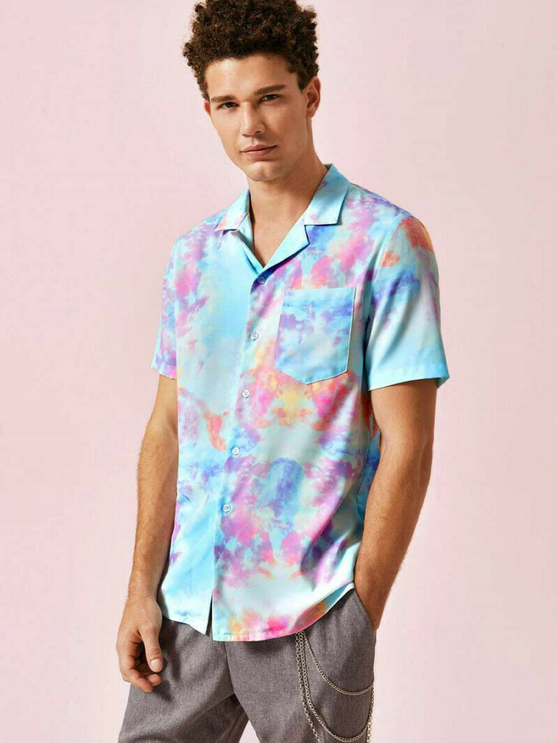 Men Attractive Pocket Patched Tie Dye Relaxed Shirt