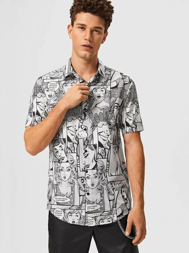 Boys Pop Art Attractive Printed Curved Hem Shirt