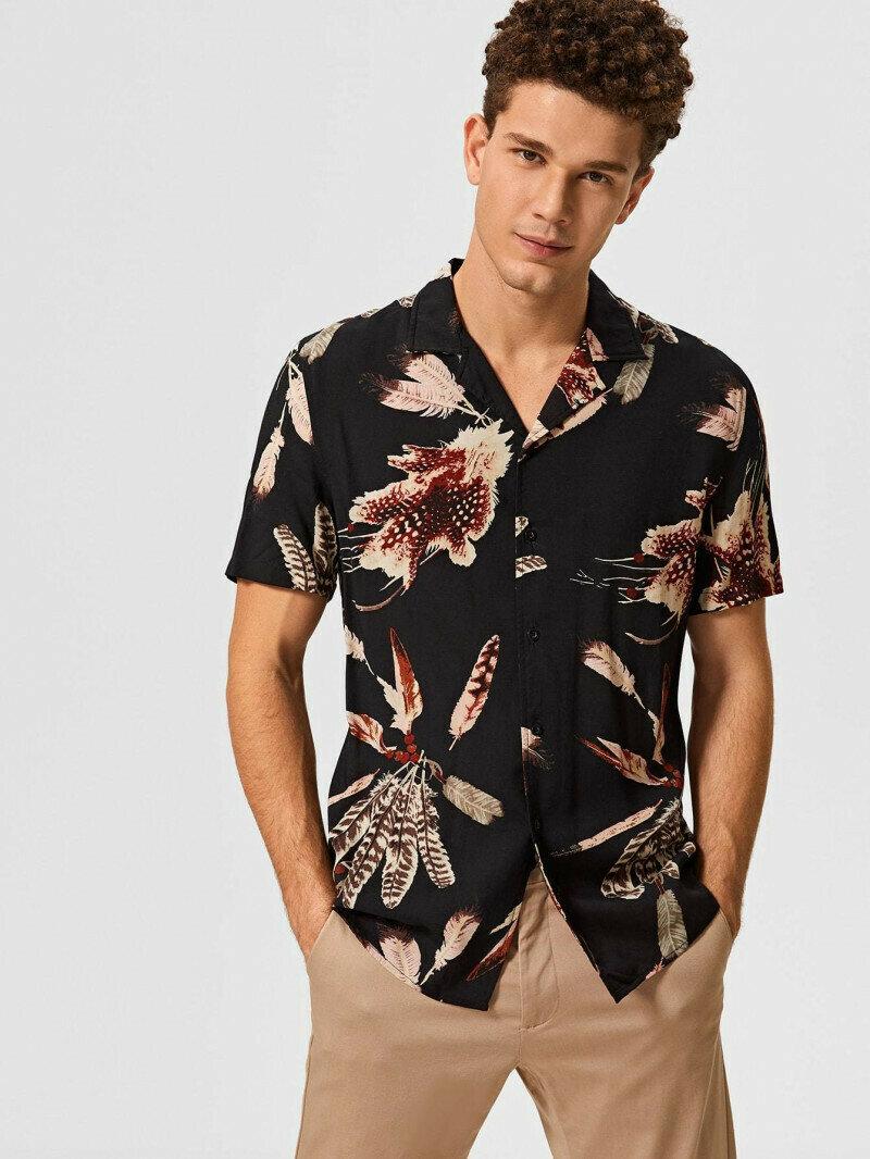 Boy Black Tropical Printed Shirt
