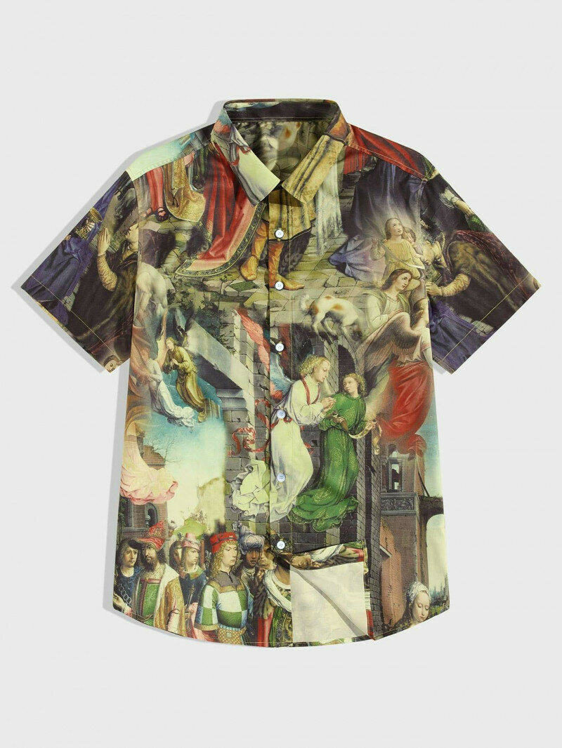 Boys Oil Painted Printed Shirt Online